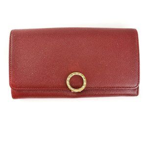 BVLGARI: Red, Leather & Gold Logo Long Wallet (mn)